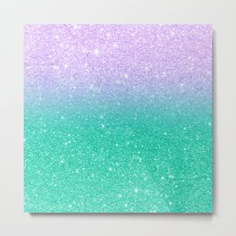 Mermaid purple teal aqua FAUX glitter ombre gradient Metal Print