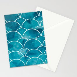 mermaid print // for sea lovers // turkish blue // aquamarine // watercolor stains // mermaid party Stationery Cards