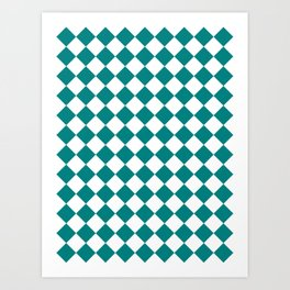 Diamonds - White and Dark Cyan Art Print