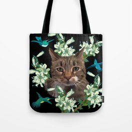 Cat and Hummingbirds 2 Tote Bag