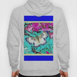 MODERN  PURPLE ORCHIDS & BLUE BUTTERFLY TURQUOISE Hoody