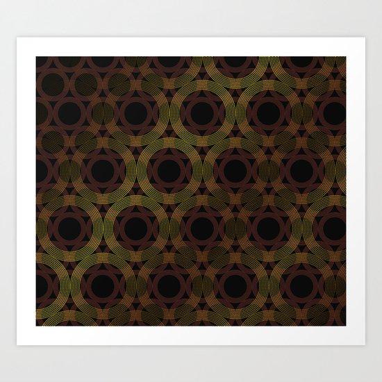 Beaded Circles Maroon and Gold Art Print