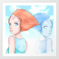 hologram Art Prints featuring Pearl and Hologram (Steven Universe) by artsycuno