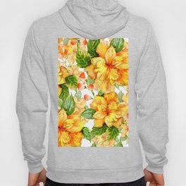 Yellow Hibiscus Tropical Continuous Floral Pattern Hoody