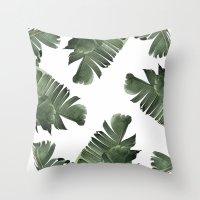 banana leaf Throw Pillows featuring Banana Leaf Frenzy #society6 by 83 Oranges™