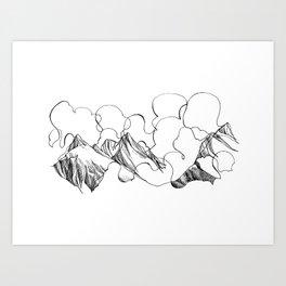 Peaks in the Clouds Art Print