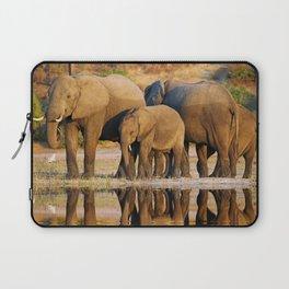 Elephants at a river, Africa wildlife Laptop Sleeve
