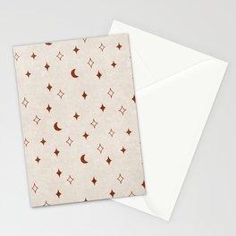 moon and stars - rust/chiffon Stationery Cards