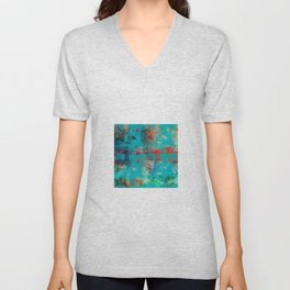 Aztec Turquoise Stone Abstract Texture Design Art Unisex V-Neck