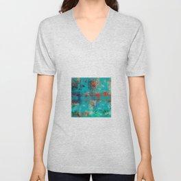 Aztec Turquoise Stone Abstract Texture Design Art Unisex V-Neck