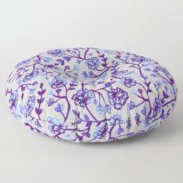 Watercolor Peonies - Periwinkle Floor Pillow