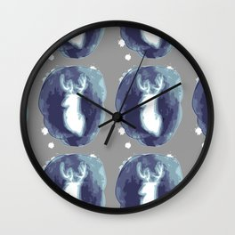 Minimal stag illustration Wall Clock