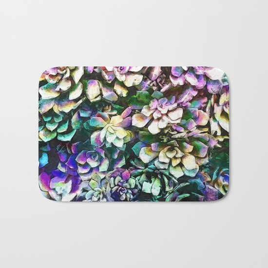 Colorful Abstract Plants Bath Mat