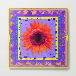 Decorative Orange Sunflower Purple & Yellow Abstract  Metal Print