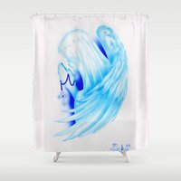 ali gulec Shower Curtains featuring Santa Maria con ali by Lucky art