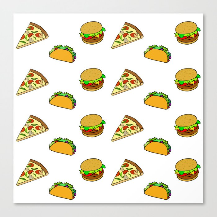 Pizza Taco Burger Pattern Canvas Print