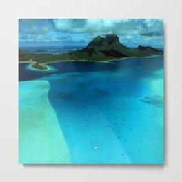 Bora Bora Lagoon Aerial Metal Print