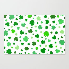 Green Shamrock Pattern Canvas Print