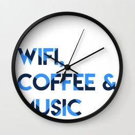 Wifi, Coffee & Music Wall Clock