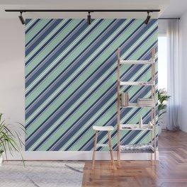 Fun Diagonal Stripes Blue Wall Mural