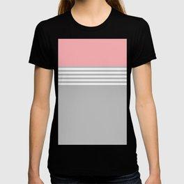 Pink White Stripes Grey T-shirt