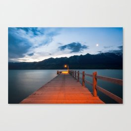 Moon rising at Glenorchy wharf, NZ Canvas Print