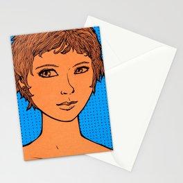 Untitled (orange / blue girl) Stationery Cards