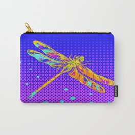 Golden Fantasy Dragonfly in Purple-Blue Pattern Optical Abstract Carry-All Pouch