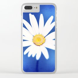 Royal Blue Yellow White Daisy Flower Photography, Bright Colorful Nature Photo Clear iPhone Case
