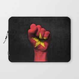Vietnamese Flag on a Raised Clenched Fist Laptop Sleeve