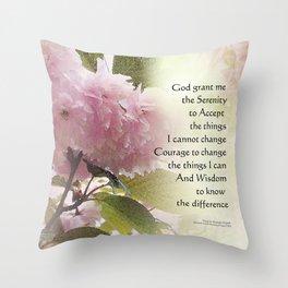 Serenity Prayer Cherry Blossom Glow Throw Pillow