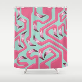 Flamingo Maze on beach glass background. Shower Curtain