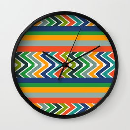 Multicolored stripes and waves Wall Clock