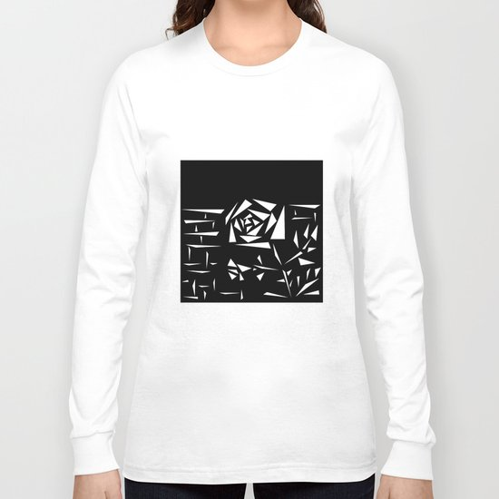Black and white abstract pattern of Roses. Triangles .1 Long Sleeve T-shirt