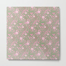Abstract pink garden pattern in light green background Metal Print