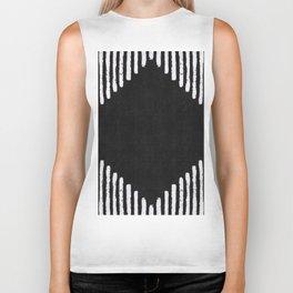 Diamond Stripe Geometric Block Print in Black and White Biker Tank
