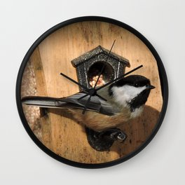 Black-Capped Chickadee at the Feeder Wall Clock