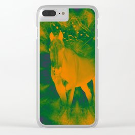 Pegasus emerging from a surreal mandala landscape Clear iPhone Case