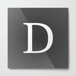 Very Dark Gray Basic Monogram D Metal Print