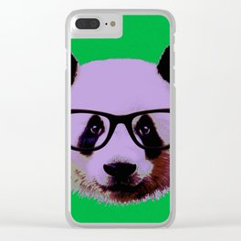 Panda with Nerd Glasses in Green Clear iPhone Case