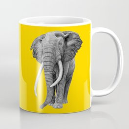 Bull elephant - Drawing In Pencil On Vintage Yellow Coffee Mug
