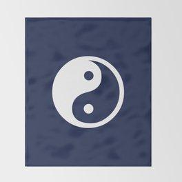 Indigo Navy Blue Yin Yang Throw Blanket