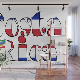 Costa Rica Font with Costa Rican Flag Wall Mural