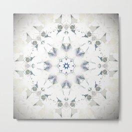 Sage White Bohemian Mandala Metal Print