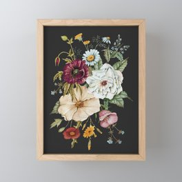 Colorful Wildflower Bouquet on Charcoal Black Framed Mini Art Print