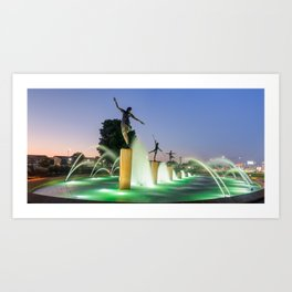 Kansas City Childrens Fountain Panorama at Dawn Art Print
