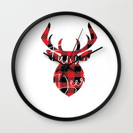 Funny Deer Christmas Pajama Red Plaid Buffalo Matching design Wall Clock