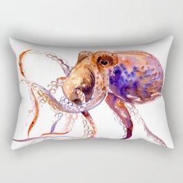 Octopus, orange purple aquatic animal design Rectangular Pillow