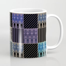 Patchwork black blue green tones Coffee Mug