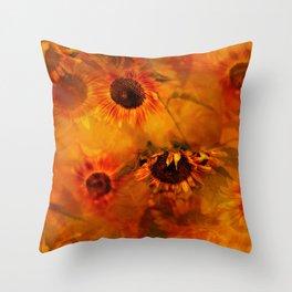 Autumn Playful Sunflowers Throw Pillow